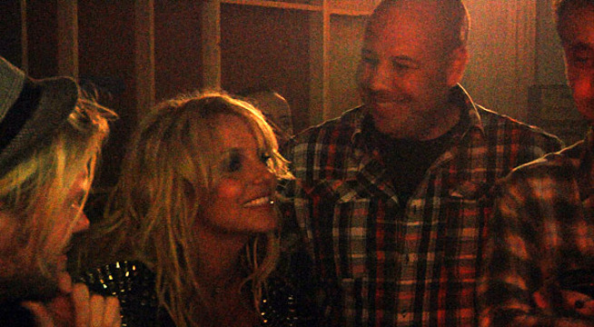 Candid Moments From 'Britney Spears: I Am The Femme Fatale' - Britney watches footage with manager Adam Leber and video director Ray Kay.