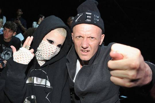 Front Row: New York Fashion Week - Yolandi Visser and Ninja of Die Antwoord attend the Alexander Wang show during Spring 2013 Mercedes-Benz Fashion Week at Pier 94 on September 8, 2012 in New York City.