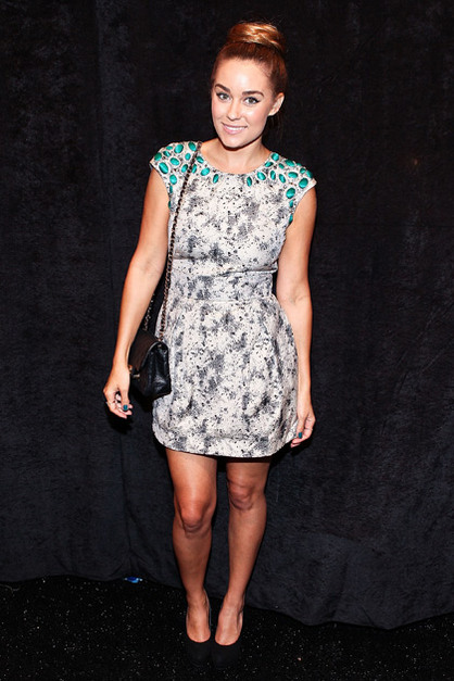 Front Row: New York Fashion Week - Lauren Conrad poses for a photo backstage at the Lela Rose show during Spring 2013 Mercedes-Benz Fashion Week at The Studio Lincoln Center on September 9, 2012 in New York City.