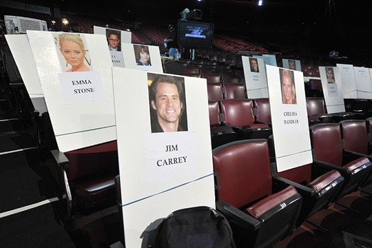 Photos | 2011 MTV Movie Awards | Behind The Scenes - Emma Stone, Jim Carrey and Chelsea Handler's seat cards at the Gibson Amphitheatre before the 2011 MTV Movie Awards.
